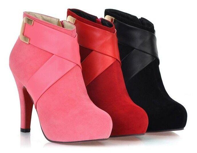 Stivaletti stivali scarpe donna tacco spillo 9 moda simil 52 pelle caldi comodi  52 simil ab115b
