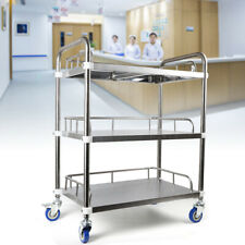 3 Layers Cart Trolley Lab Hospital Serving Caregiving Stainless Steel Organizer