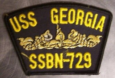 """Flavor Embroidered Military Patch Uss Georgia Ssbn-729 Navy Ship New 4 1/2"""" X 3"""" Gold Fragrant In"""
