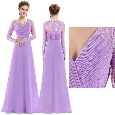 Ever Pretty Bridesmaid Dresses Lavender Long Lace Sleeve Ball Prom Gowns 08692 Ebay