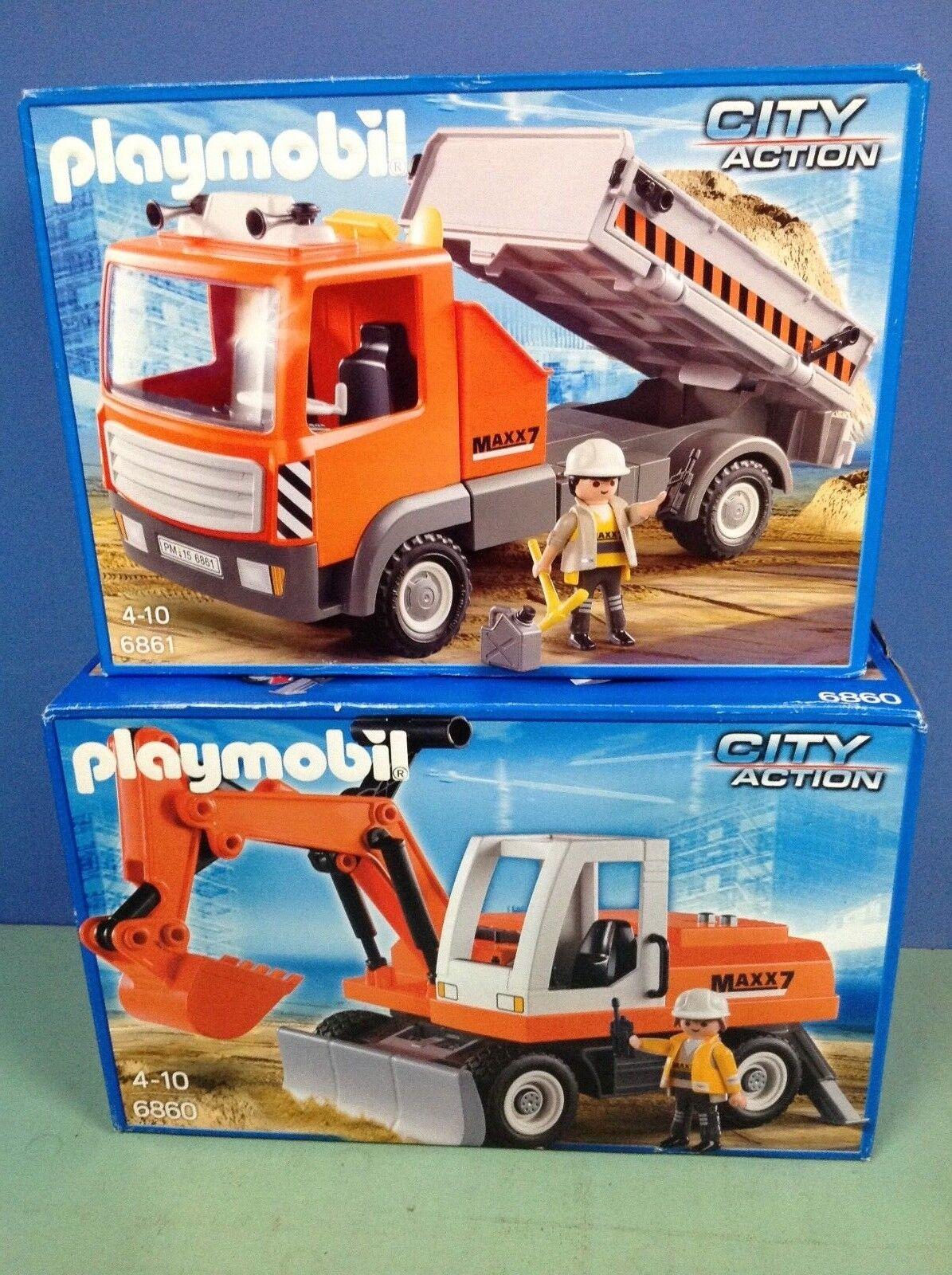 O6860.5  playmobil ensemble véhicules chantier maxx7 boites 6860 + 6861 cplt