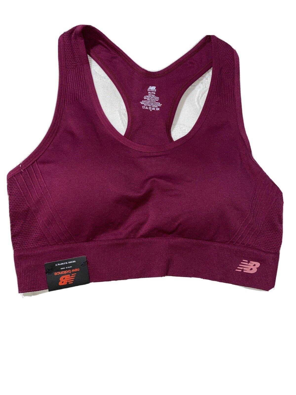 New Balance Medium Impact Sports Bra Style # 112011 Deep Jewel- Red Size XL