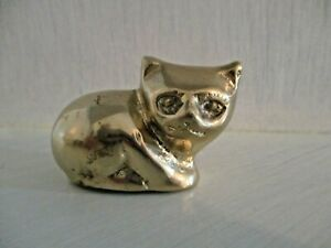 Vintage MCM Polished Brass Cat Kitten Paperweight Figurine