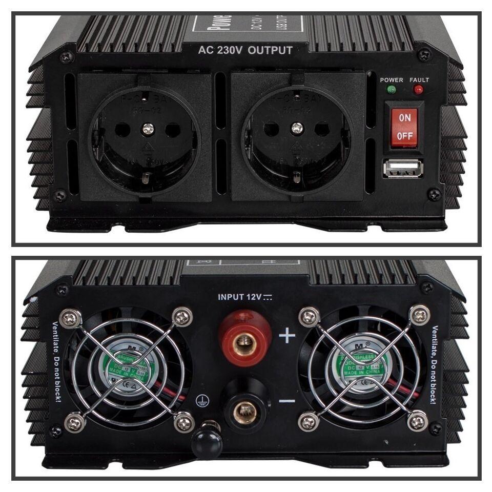 Transformer 12 V jævnstrøm til 230 V 1500 W..., TecTake