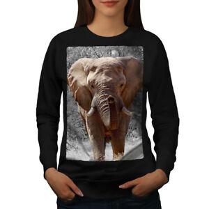 Wellcoda-Elephant-Wild-Art-Animal-Womens-Sweatshirt-Huge-Casual-Pullover-Jumper