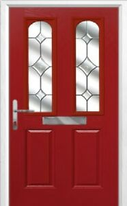 2 Panel 2 Arch Crystal Diamond Composite Front Door in Red Various sizes
