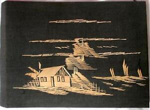 Vintage-Straw-Painting-Art-Asian-Pacific-Bamboo-Reed-Black-Cloth-Original-11x7
