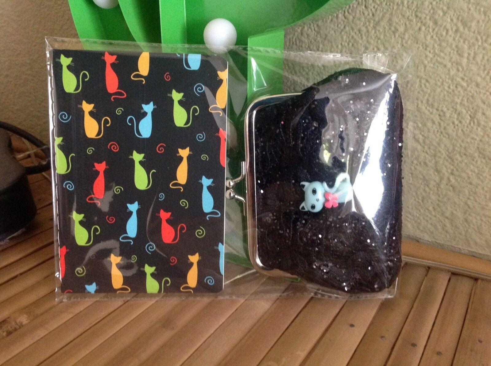 Retro Atomic Cat 50s Kitty Kitsch Black Glitter Purse +Notebook 2 Piece Gift Set