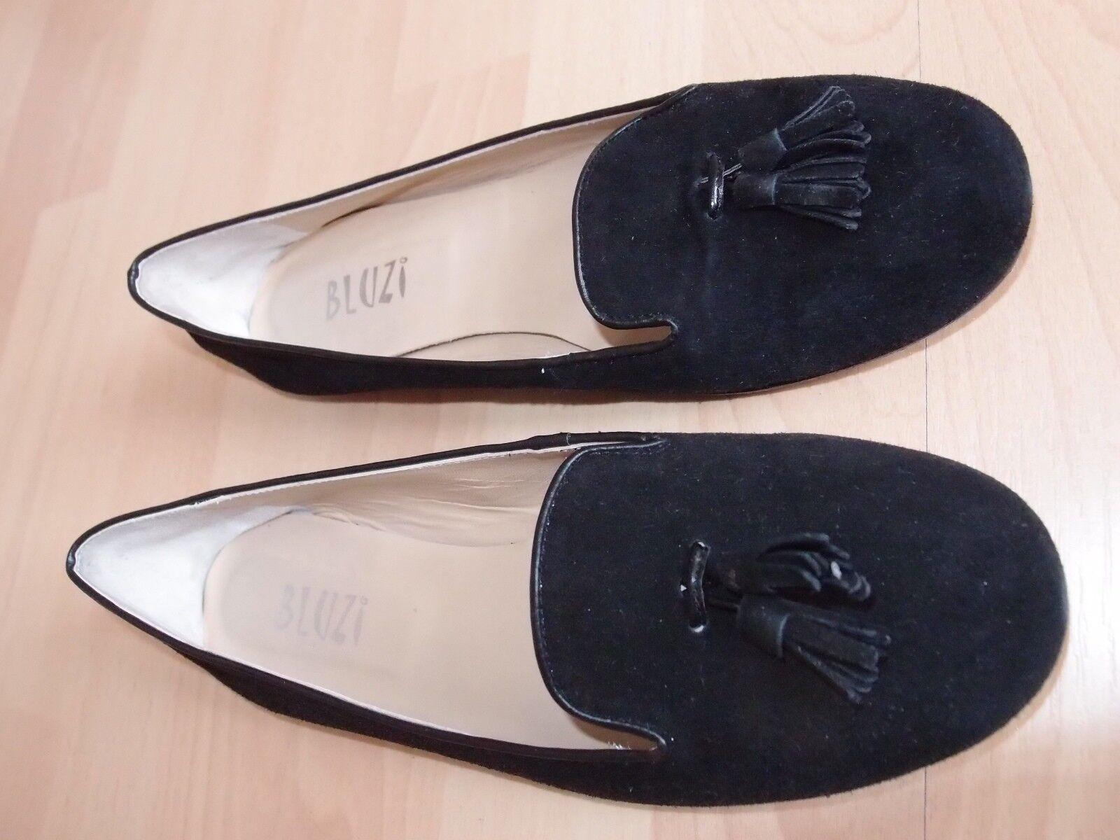 Italienische Designer-Ballerinas im College-Stil Gr. 39 Leder schwarz
