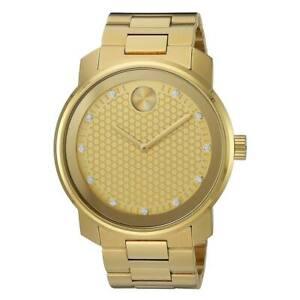 Movado 3600374 Men's Bold Gold Dial Yellow Steel Diamond Watch