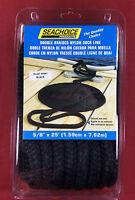 Dock Line Double Braided Nylon 5/8 X 25' Black Rope Seachoice 40441