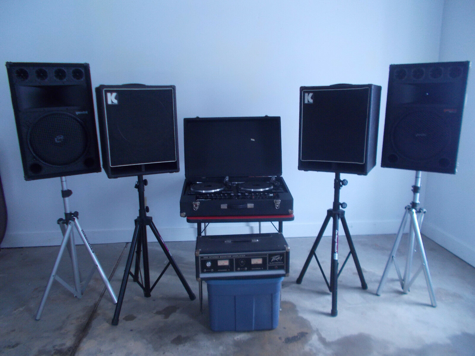 Vintage DJ Equipment with Speakers