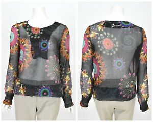 Da-donna-Desigual-Camicetta-Camicia-Collo-Henley-Sheer-floreale-multicolor-Estate-Taglia-L