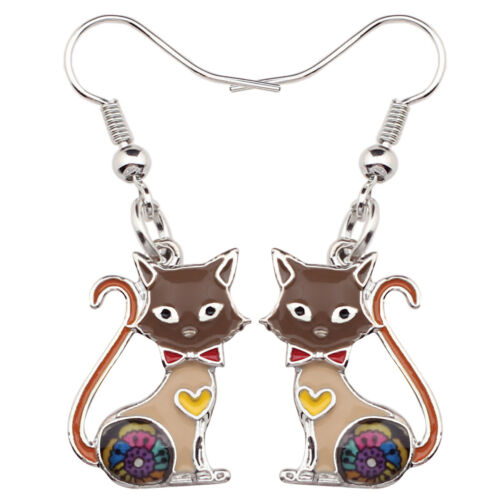 Émail alliage Chaton Chat Boucles d/'oreilles grandes longues Dangle Drop Jewelry for Women Kid cadeau
