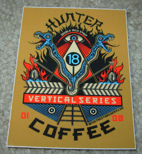 EIGHTEENTH STREET 18TH BREWING CO promo Hunter Coffee STICKER craft beer brewery