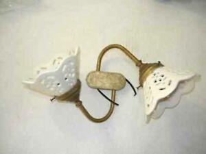 Applique lampada plafoniera ottone e ceramica bianca traforato a due