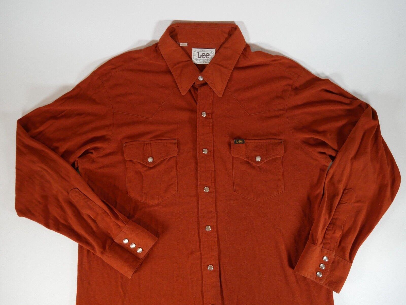 Vintage 70s  Lee Western Extra Larga Cola Perla Snap Botones Para Hombre Hecho en EE. UU.  Ven a elegir tu propio estilo deportivo.