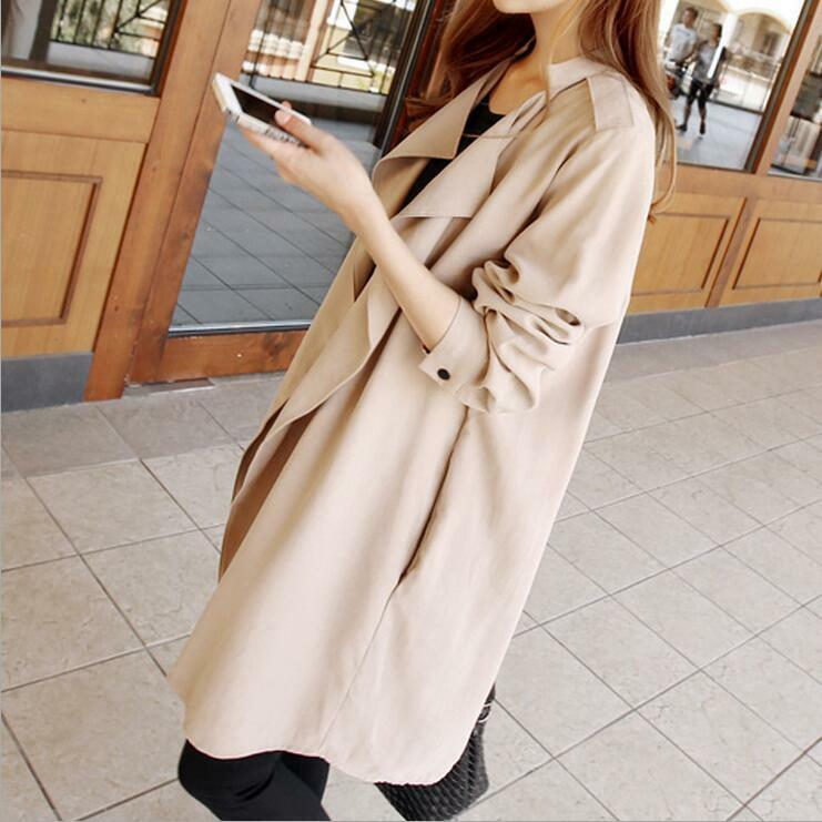 Spring Autumn Women Cotton Windbreaker Korean Loose Leisure Cardigan Trench Coat