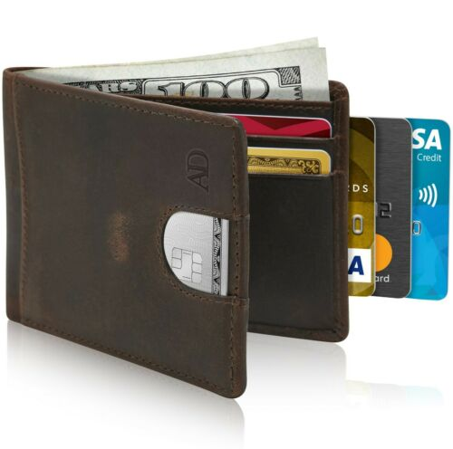 Leather Slim Wallets For Men Minimalist Bifold Mens Wallet With Pull Strap RFID