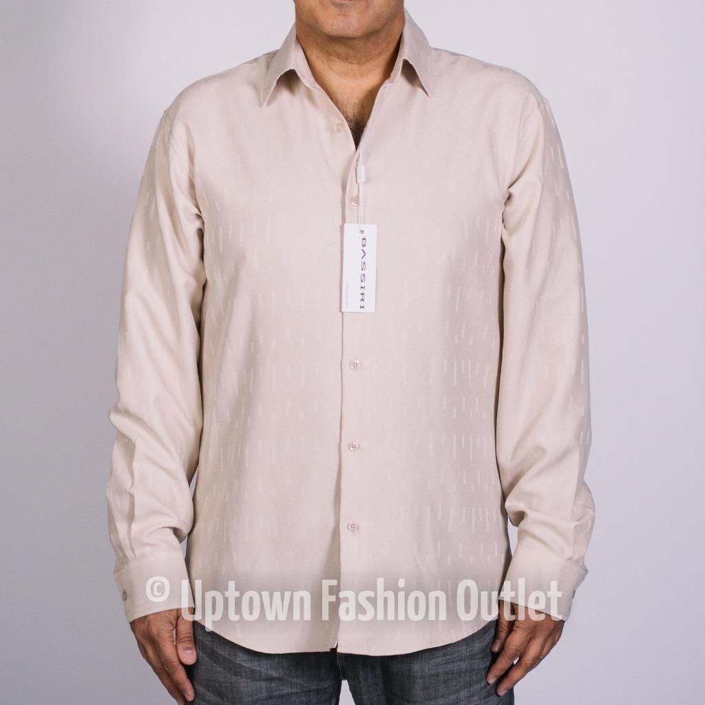 New Bassiri Men's Tan Microfiber Printed Long Sleeves Casual Shirt FI 6047