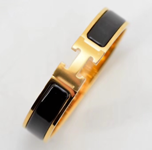 56dff0c62a Details about Authentic Hermès Enamel Noir Gold Clic Clac H Bangle Bracelet  Black PM