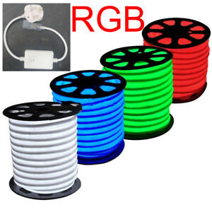 Details about LED Strip RGB Neon Flex Rope Light Waterproof 220V Flexible  Outdoor Lighting