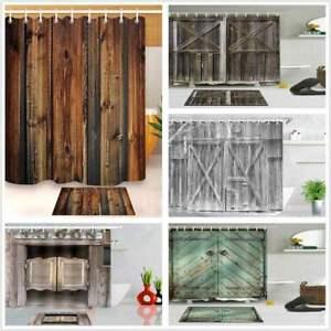 3D-Print-Fabric-Rustic-Wood-Shower-Curtain-Set-Waterproof-Mildewproof-Bathroom
