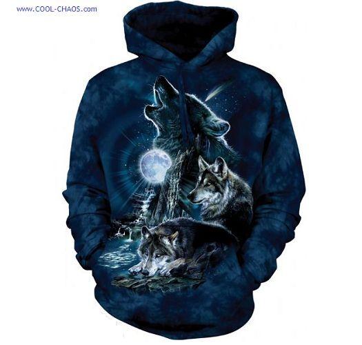 Mitternacht Blau Wolf Kapuzenpullover / Wild Heulende Wölfe , Outdoor, Jäger,