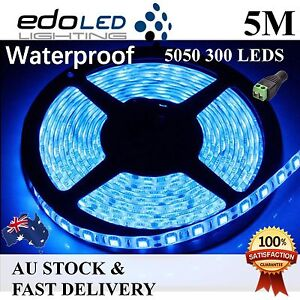 12V Blue 5M 5050 SMD 300 Leds Flexible Led Strip Lights Waterproof Car Camping