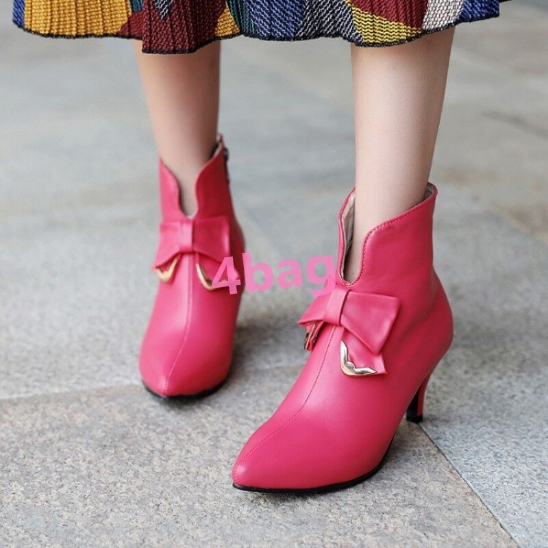 Sweet Bowtie Ladies Womens Kitten Heel Pointed Toe Party Ankle shoes Boots UK11