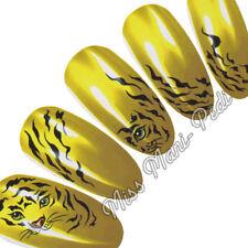 Nail Art Water Transfers Decals Tiger Cat Animal Stripes K080