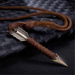 Popular Men Leather Arrow Punk Necklaces Pendants Body Choker Chain Jewelry Gift