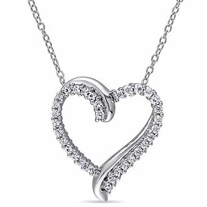 Silver 3/4 ct TGW Created White Sapphire Heart Pendant Necklace