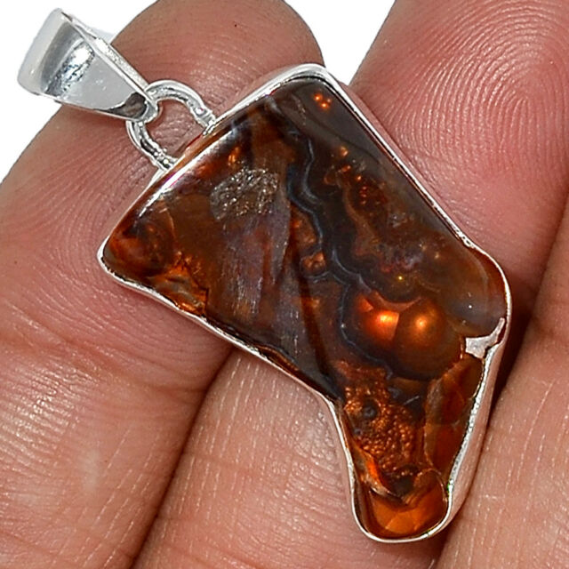 Mexican Fire Agate 925 Sterling Silver Pendant Jewelry AP34988