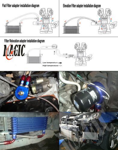 """7/"""" Electric Fan Kit BL Universal 15 Row engine Transmission 10AN Oil Cooler kit"""