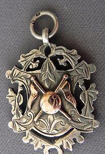 Antique-Edwardian-Sterling-Silver-Rose-Gold-Watch-Fob-Awards-Medal-1904