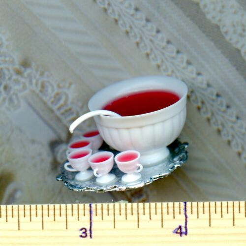 Dollhouse Miniature Red Punch in a PunchBowl with Ladle /& 6 Filled Cups on Tray