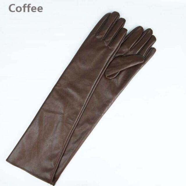 Women's Warm Fashion New Lambskin Leather Opera Long Gloves Black Lambskin