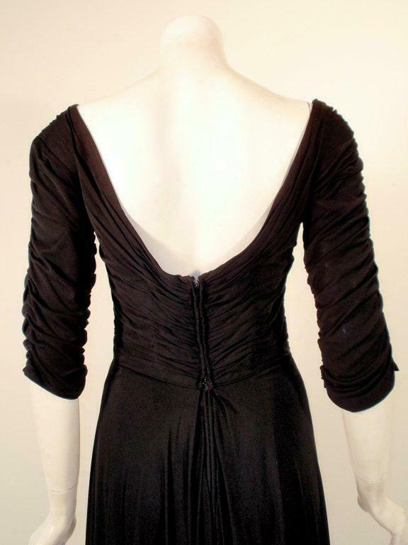 CEIL CHAPMAN Black Ruched Cocktail Dress with 3/4… - image 7