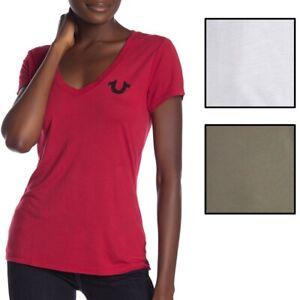 True-Religion-Women-039-s-Crystal-Embellished-Horseshoe-Deep-V-Neck-Tee-T-Shirt