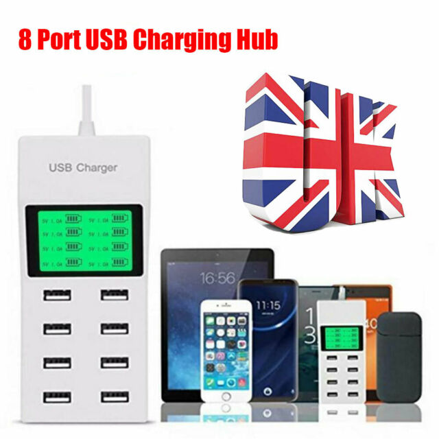 UK 8-Port Smart Multi USB AC Fast Wall Charger Hub LCD Display Charging Station