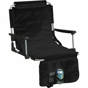 Black Cushion Stadium Chair Arm Cup Holder Outdoor