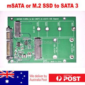 mSATA SSD or M.2 NGFF B/B+M KEY SSD to SATA III 7+15 Pin Adapter Converter Card