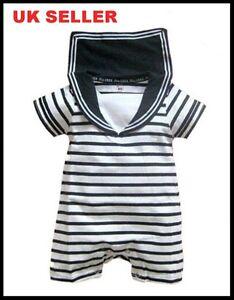 d36d1c917e42 Baby Boy Sailor Romper White Navy Striped Suit Grow Outfit Summer 0 ...