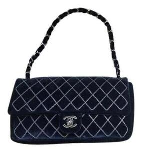 84b24fa029a8 Image is loading Authentic-Chanel-black-velvet-chain-quilted-East-West-