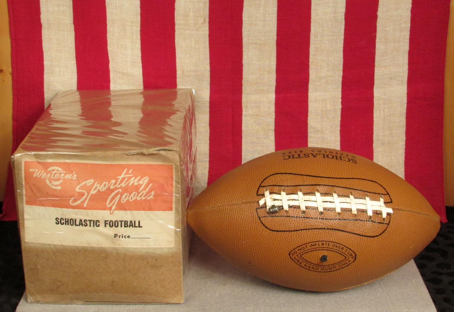 Vintage Westerns Sporting Goods Leather Scholastic Football w Laces Orig.Box New