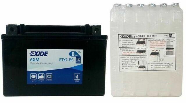 Batteria moto EXIDE ETX9-BS 8AH YTX9-BS APRILIA BMW CAGIVA HONDA KAWASAKI KYMCO
