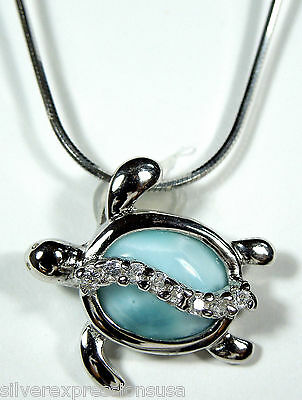 """Natural Genuine AAA Dominican Larimar 925 Sterling Silver Turtle Necklace 18"""""""