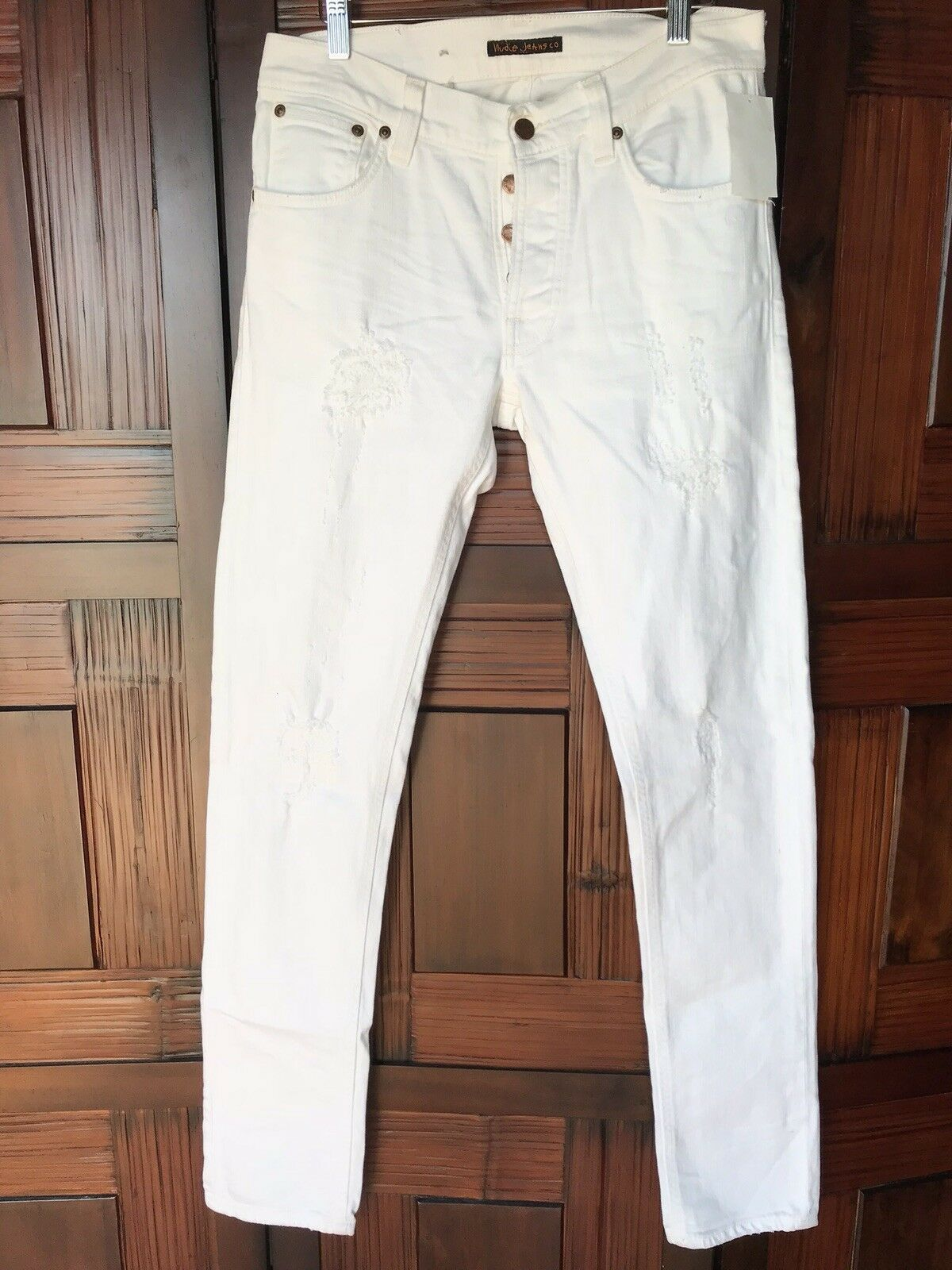 Nudie Jeans Tilted Tor Pitch White Jeans in Organic Cotton Size 31W 34L NEW