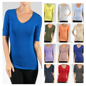 1edd7ca7131d Women Cotton Spandex Elbow Sleeve V-Neck Tunic Top Casual T-Shirts ...